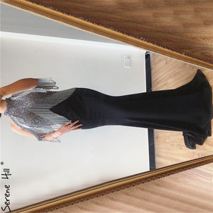 Image 1 - Serene Hill Black Mermaid Sexy Jersey Evening Dresses Gowns 2020 Luxury Beading Tassel Elegant For Women Party LA70346