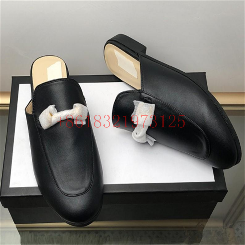 Fashion Luxury Designer Women Shoes Mules Outdoor Fashion Flat Mule Ladies Loafers Mens Summer Slippers Suede Genuine Leather