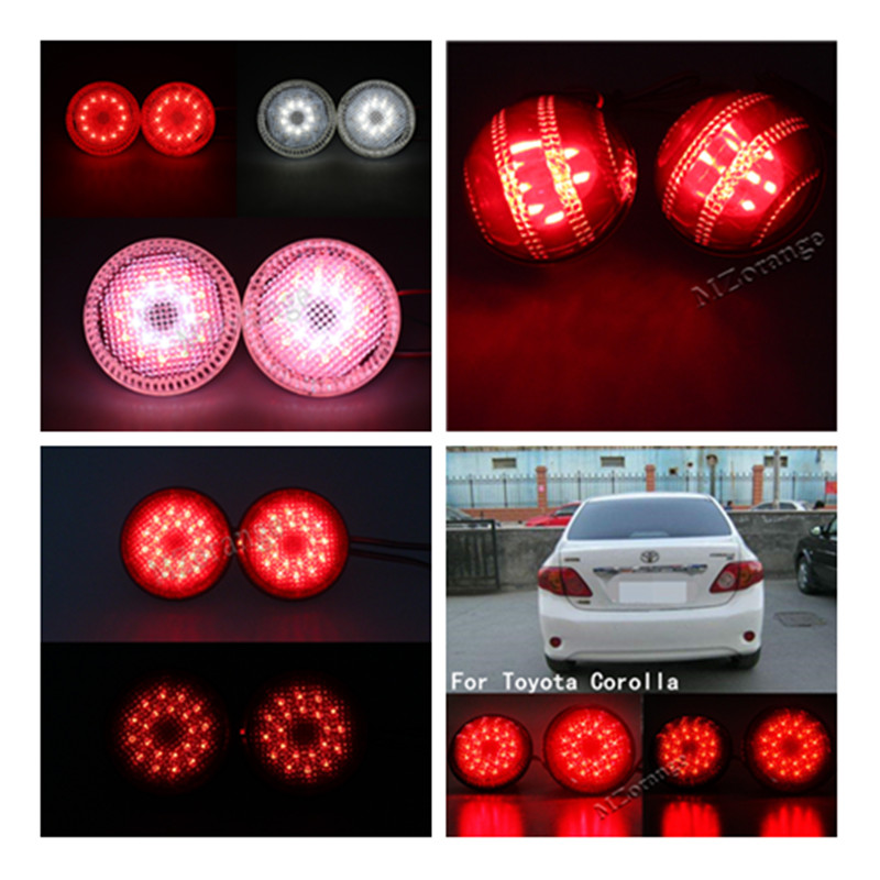 2Pcs LED Round Brake Stop Light Warning Lamp Tail Rear Bumper Reflector Lights for Nissan/Qashqai/Trail/For Toyota/Corolla