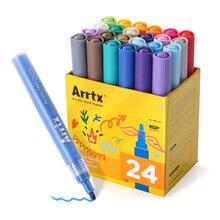 Arrtx caneta de marcador acrílica, tinta permanente 24 cores para vidro de cerâmica porcelana caneca de madeira pintura de tela