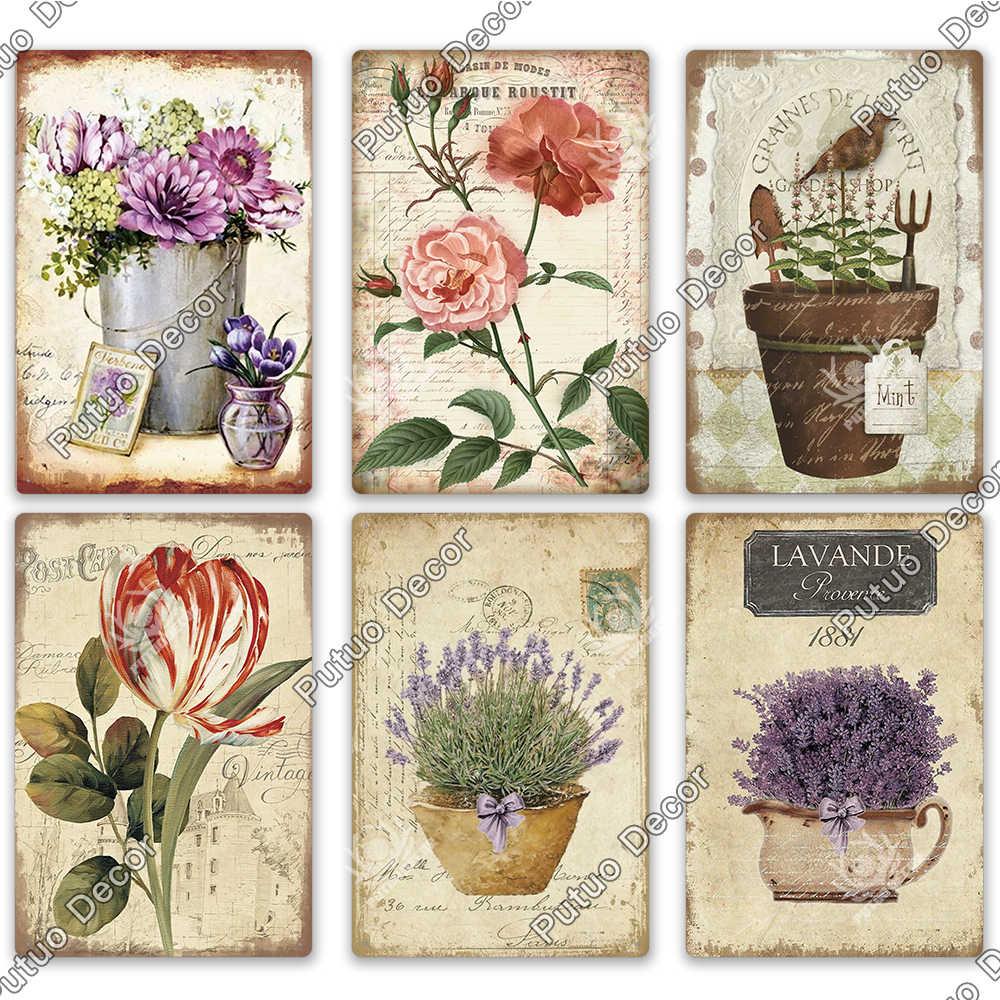 Flower Vintage Metal Tin Sign Decorative Plaque Garden Room Kitchen Wall Decor