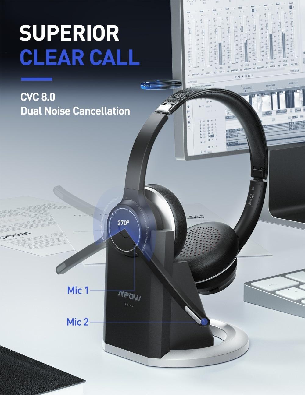 fio bluetooth 5.0 fone com cancelamento ruído