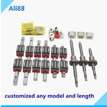 Free shipping!HGR20 HGR15 linear rail 6set guida lineare with 12pc linear bearing HGH15CA +SFU1605 ballscrew cnc router parts