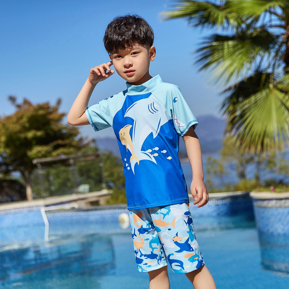 2019 Children Split Type Swimsuit Male Baby Bubble Hot Spring Swimsuit For Boys Handsome Cute Sports Olive Flower 1040