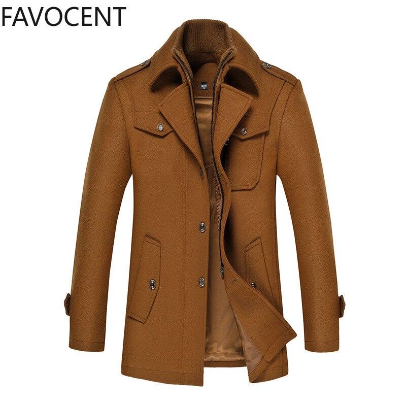 Autumn Winter Wool Coat Men Slim Large Size Trench Coat Men Thick Woolen Coat Mens Overcoat Fashion Men Wool Jacket Smart Casual