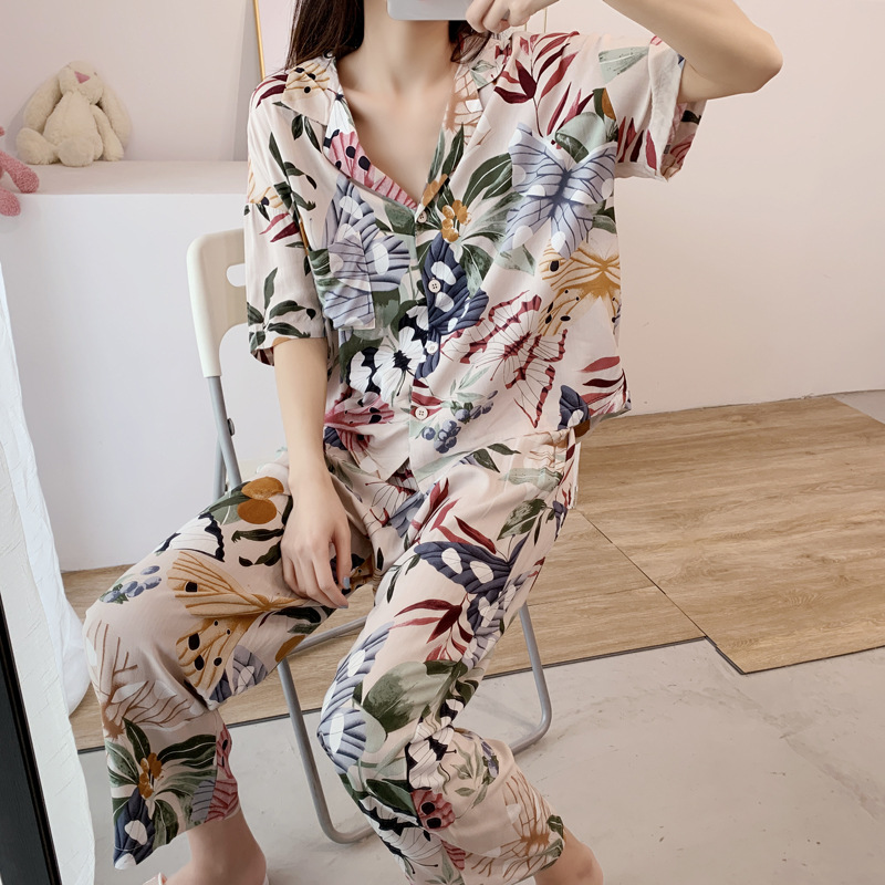 Short-sleeved Pajamas Set Women 2020 Spring And Summer Newest Hot-selling Home Service Printing Clothes Pyjamas Women