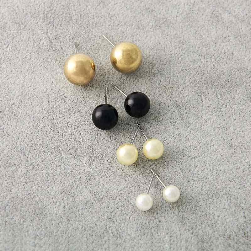 Seaside คลาสสิกเงินเครื่องประดับผสม 1 ชุดรอบบอลโลหะไข่มุกยาวพู่สีดำสีขาว Stud ชุดต่างหูคริสตัล