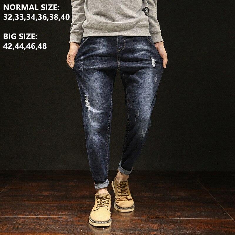 Black Jeans Denim Mens Trousers Blue Hip Hop Ripped Jean For Men Brand Pencil Distressed Man Blue Pants Plus Size 40 42 44 46 48