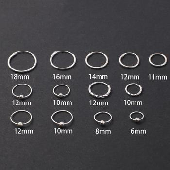 Женские и мужские серьги-обручи, круглые серьги из стерлингового серебра, 6-18 мм