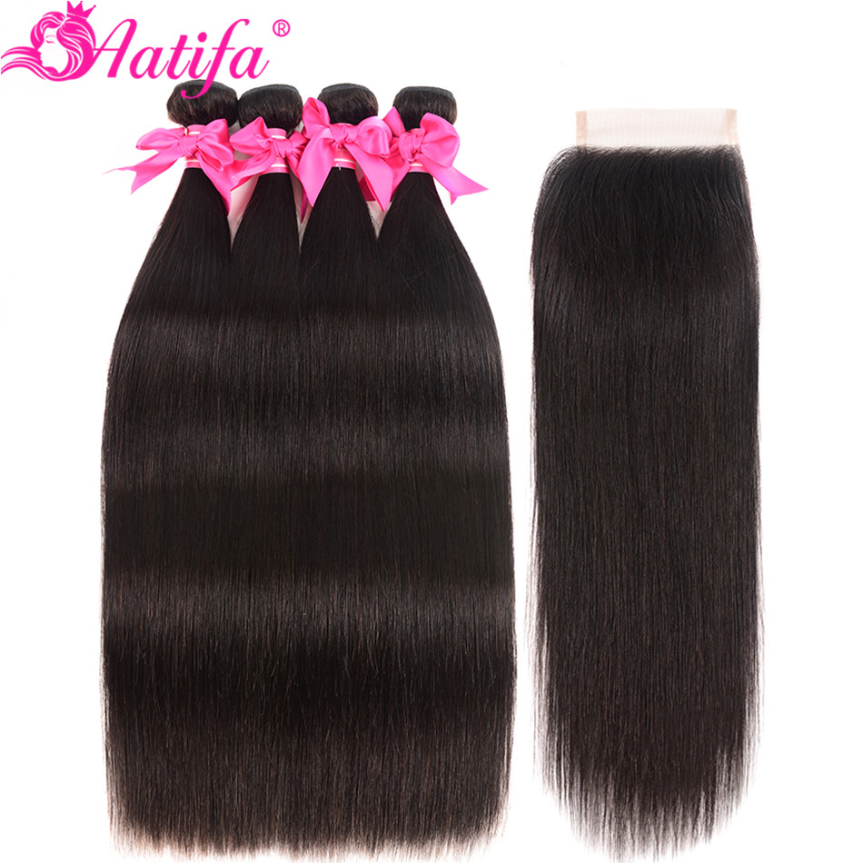 Aatifa Brazilian Straight Hair Bundles With Closure Human Hair Bundles With Closure Remy Bundles With Closure