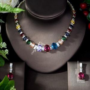 Image 2 - HIBRIDE Elegant Luxury Wedding Accessories Bride Jewelry Set CZ Drop Earrings Necklace Set parrure bijoux femme mariage N 1078