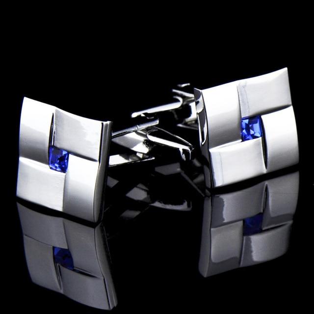 High Quality Classic  Simple Blue Crystal Cufflinks 3