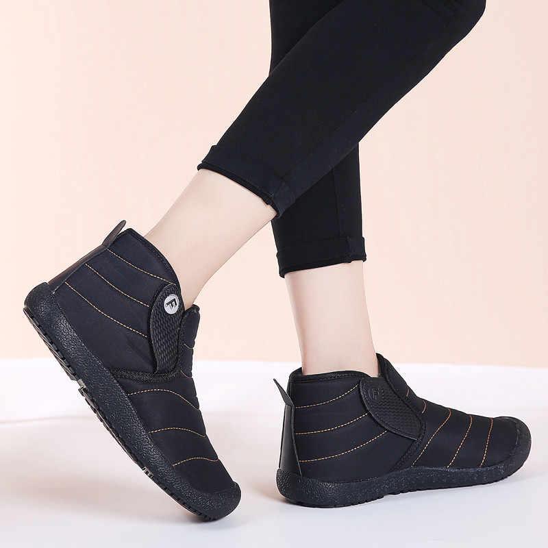 PINSEN 2020 moda kadın kış çizmeler rahat su geçirmez sıcak peluş ayak bileği kar botları Slip-on bayanlar Botas Mujer