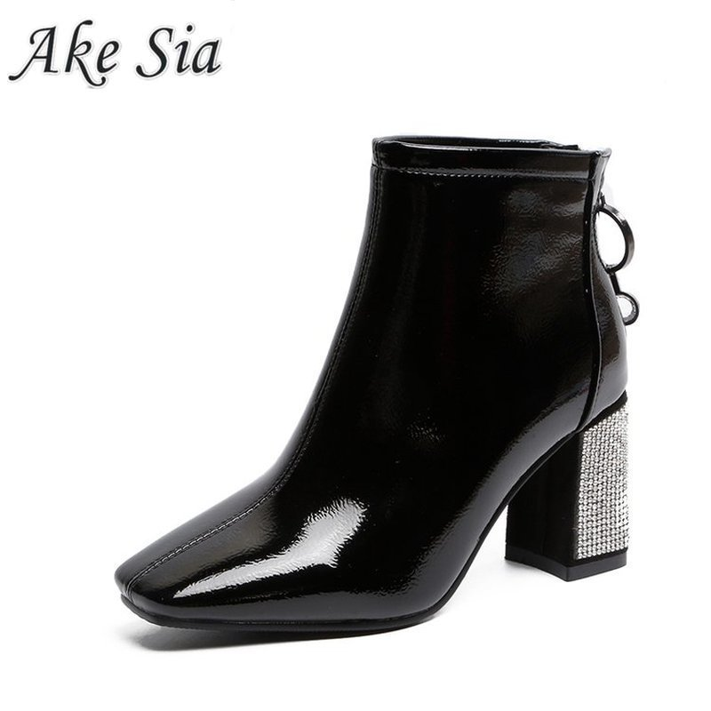 Waterproof thick heel boots 2019 winter women new fashion retro and ankle boots ladies square head plus cotton temperament boots
