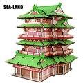 Лазерная резка 3D деревянные пазлы детские развивающие творческие игрушки китайские знаменитые здания Tengwang павильон сборочные хобби игры