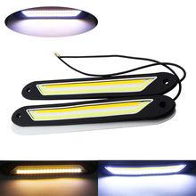 COB LED Flexible Daytime Running Lights DRL Turn Signal Waterproof White Yellow Dual Color Driving Light Fog Lamp for Car Moto 2pcs led drl daytime running lights white light color headlight turn signal fog lamp for honda for civic 2016 2018 auto parts