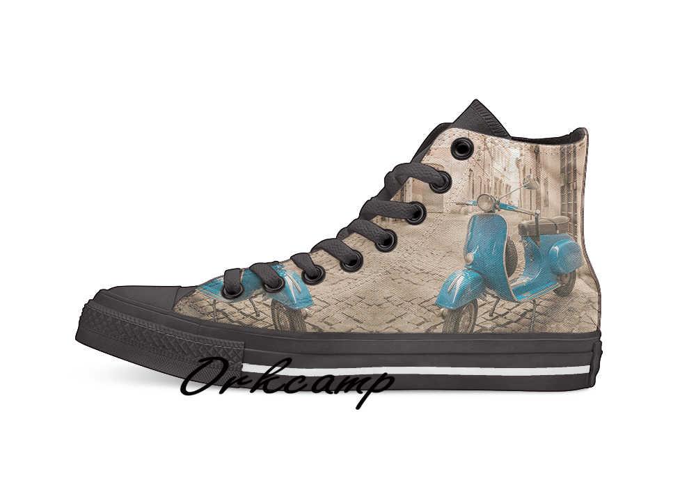 Vespa Custom Casual Hoge Top Lace-Up Canvas Schoenen Sneakers Drop Shipping