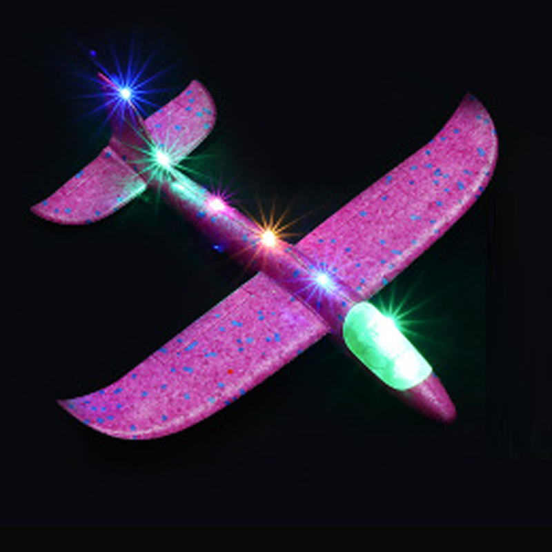 2019 DIY 35cm LED Hand Throw Lighting Up Flying Glider Plane Glow In The Dark Toys Foam Airplane Model Toys For Children