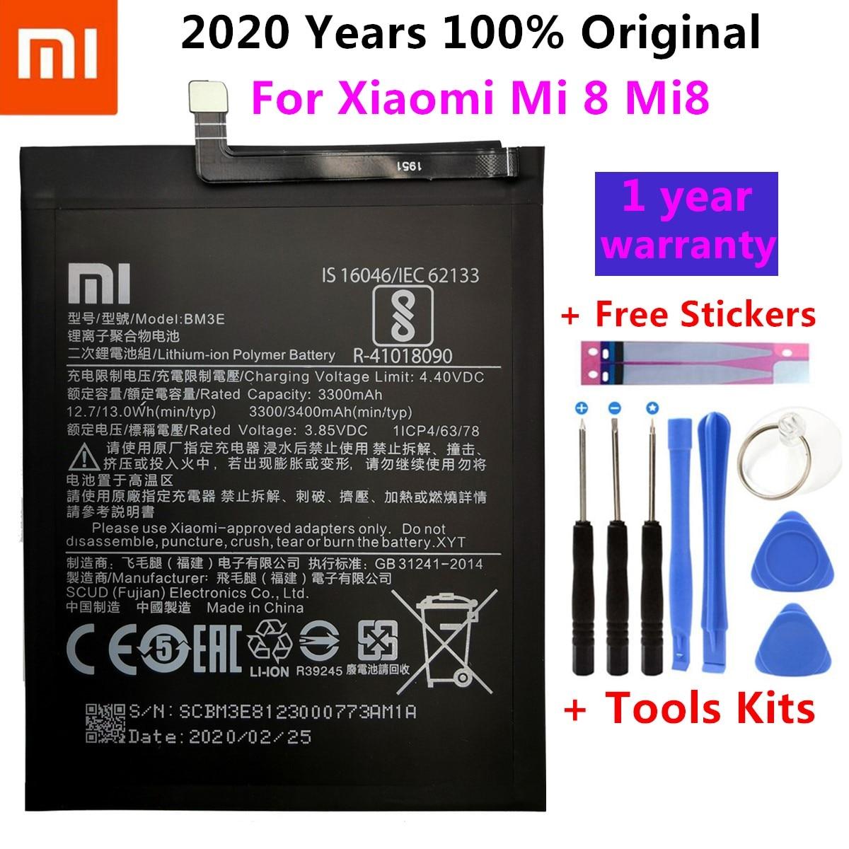 Xiao Mi Original Phone Battery BM3E For Xiaomi Mi 8 Mi8 M8 Real 3400mAh High Quality Replacement Battery+ Free Tools+Stickers