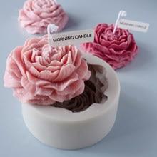 Moule à bougie d'aromathérapie en silicone, grande pivoine, modèle de savon fait à la main bricolage plâtre