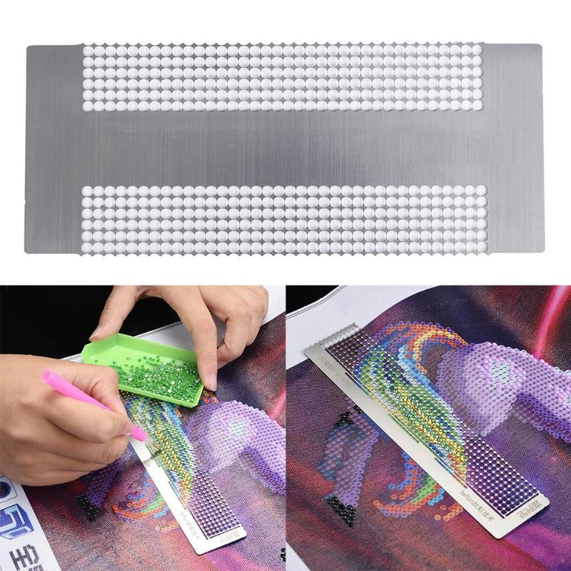 Stainless Steel Point Drilling Ruler Single/Double Row Dotting Rhinestone Anti-stick Diamond Embroidery Drill Tools