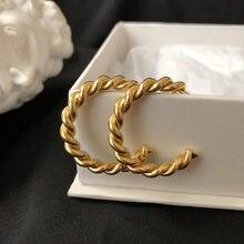 2021 grundlegende Chic Französisch Twisted Hypoallergen Anlauf Freie Edelstahl 18K Gold CC Hoop Ohrringe Für Frauen
