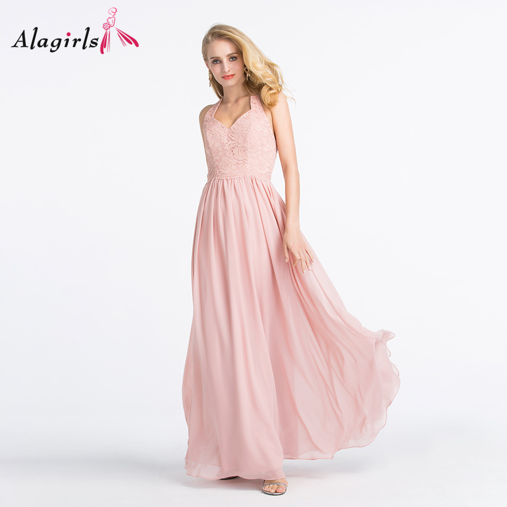 Alagirls Elegant halter backless bridesmaid dress 2020 Light pink lace long dress Floor length party gowns for women evening
