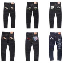 Evisu, новинка, повседневные, мужские, дышащие, высокое качество, джинсы, теплые, мужские, бренд, вышивка, прямые, с принтом, мужские брюки, четыр...