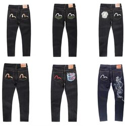 Evisu New Casual Men's Breathable High Quality Jeans Warm Men's Tide Brand Embroidery Straight Print Men's Trousers Four Seasons