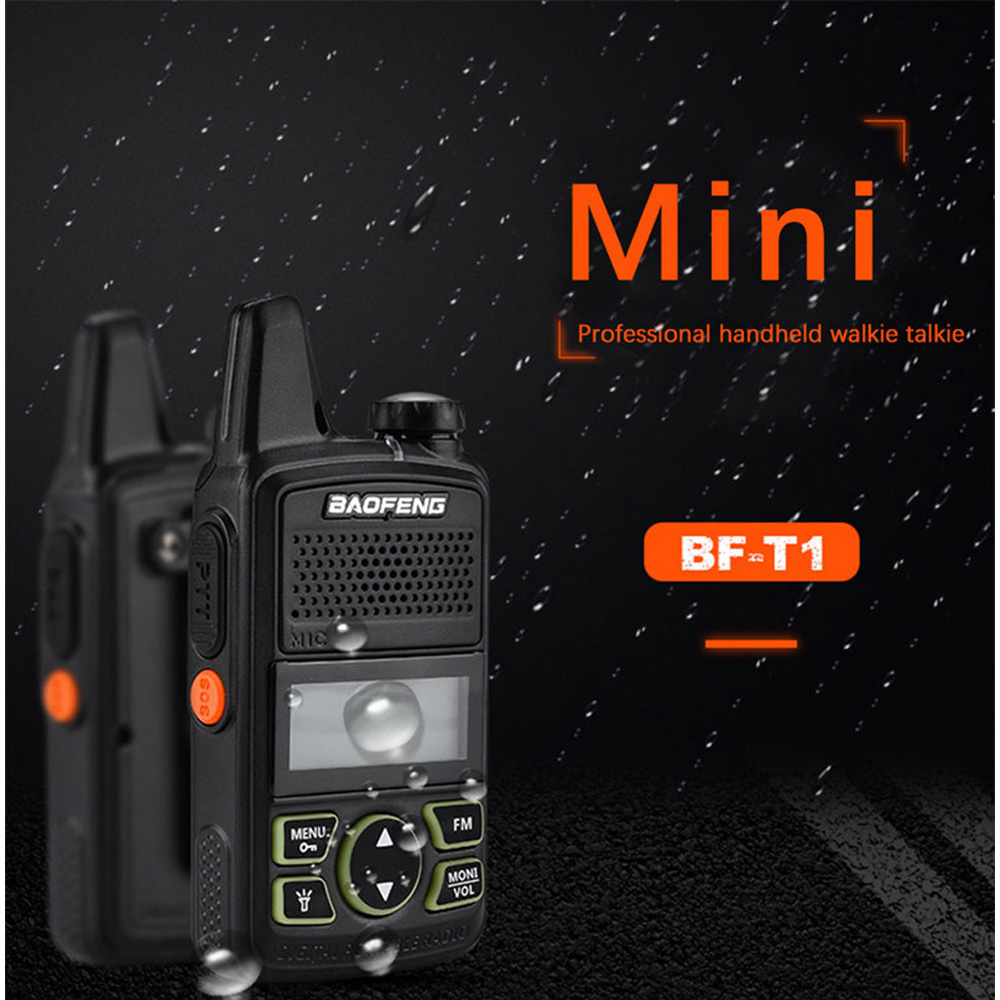 For BAOFENG BF-T1 MINI Walkie Talkie UHF 400-470MHz Portable Two Way Radio Ham Mergency Alarm LED Flashlight
