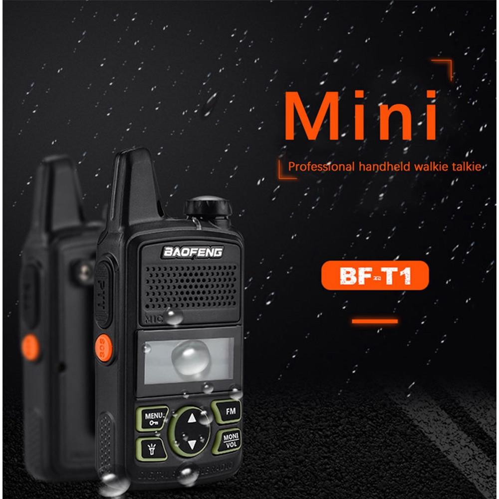 For BAOFENG BF-T1 MINI Walkie Talkie UHF 400-470MHz Portable Two Way Radio Ham Mergency Alarm LED Flashlight