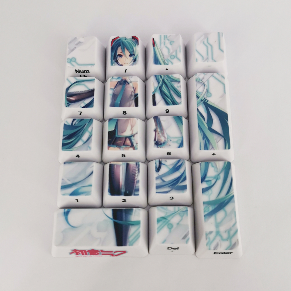 Image 5 - 17 Keys Hatsune Miku Number Keycaps PBT Thicken OEM Profile Side Character Caps For Cherry Mx Switch Mechanical KeyboardKeyboards   -