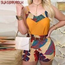 Women Spaghetti Strap Print Top & Short Sets Summer Casual C