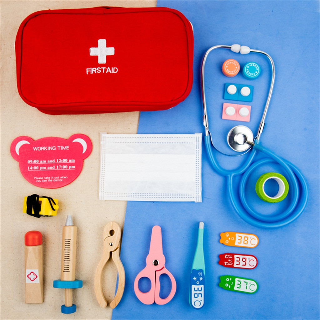 Kids Simulation Doctor Suitcase Girls Nurse Midicine Box Wooden Thermometer Echometer Pretend Play Toys Hospital Play House Sets