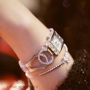 Image 3 - Vrouwen Horloges Dames Quartz Horloge Vierkante Diamanten Luxe Merk Armband Horloge Voor Vrouwen Strass Vrouwelijke Horloge Relogios