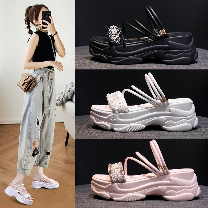 Sandals And Slippers 2020 Summer New Versatile Thick Bottom Muffin Sandals Fairy Style Two Wear Casual Fashion Z848