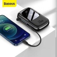 Baseus 20000mAh power bank Mini Power Bank cavi integrati PowerBank caricabatterie esterno per iPhone 12 Pro Xiaomi Samsung