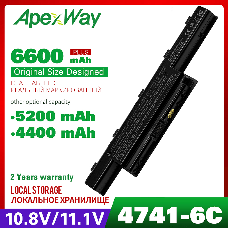 Apexway 6cells Battery For Acer Aspire AS10D31 AS10D41 AS10D81 AS10D61 AS10D71 4741 AS10D81 AS10D75 BT.00607.126 AS10D31