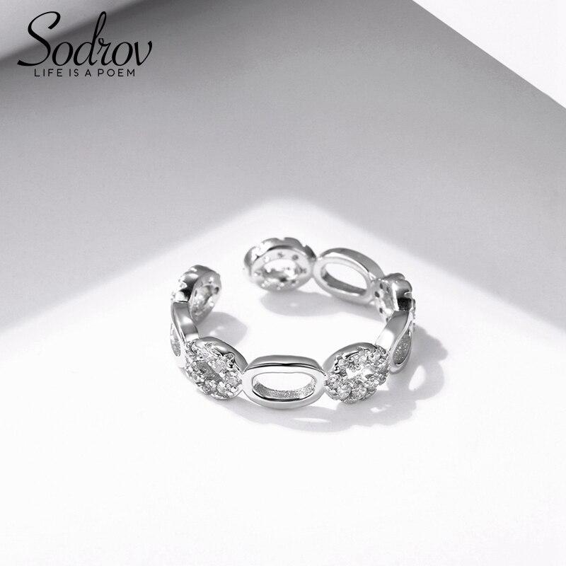 SODROV Heißer 925 Sterling Silber Dreieck Zirkon Stein Engagement Ring Für Frauen Feine Hochzeit Schmuck R026
