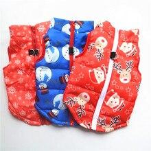 Coat Winter Jacket Vest Dogs-Harness for Christmas Snowman-Pattern Warm Cute