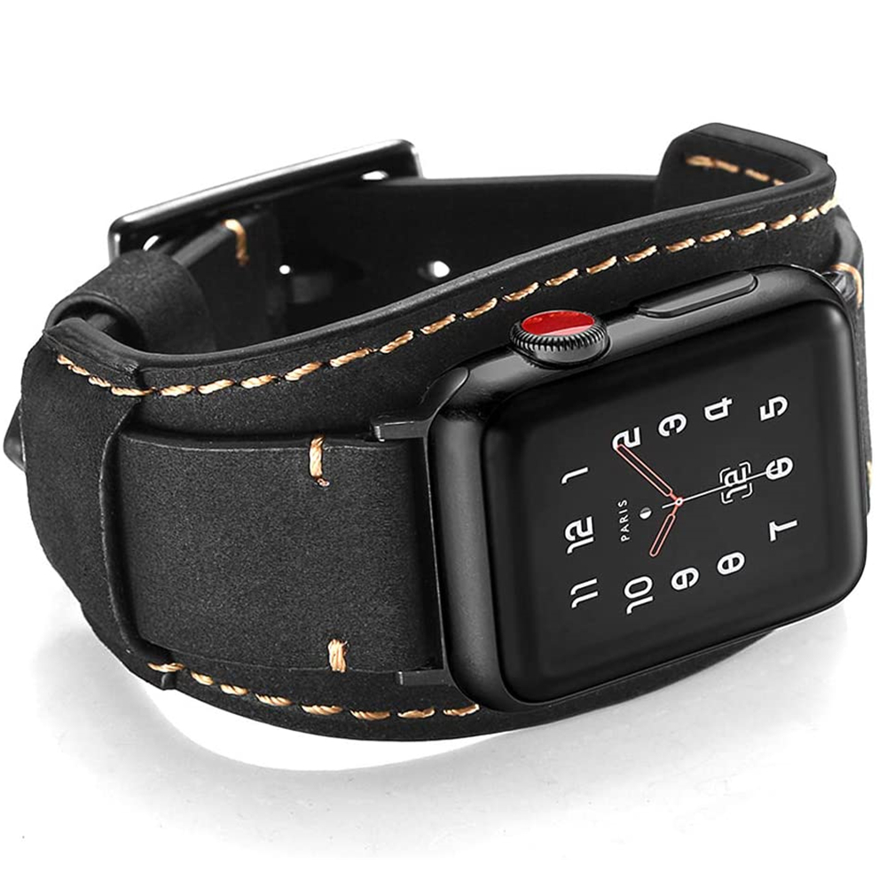 for <font><b>Apple</b></font> <font><b>Watch</b></font> 5 44mm band Genuine Leather <font><b>correa</b></font> for iwatch bands <font><b>42mm</b></font> strap 40mm 38mm Series 5 4 <font><b>3</b></font> 2 1 Men Women Wrist belt image