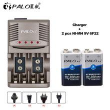 PALO Smart Charger For AA AAA Rechargeable Batteries NI-MH 9V 6F22 Battery+2pcs 300mAh batteria Battery microphone