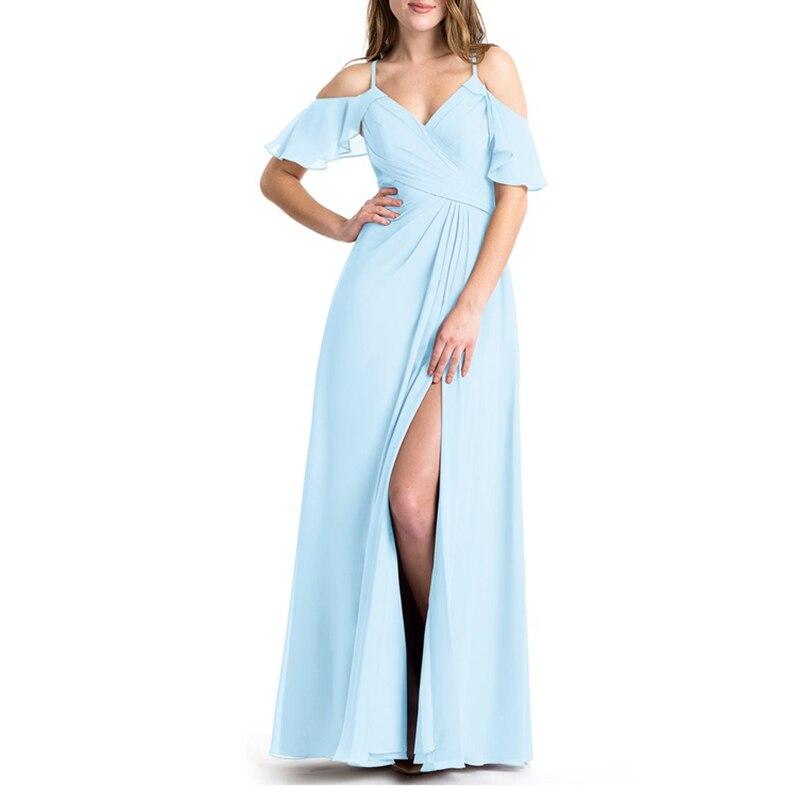 MulMulberry Bridesmaid Dresses Chiffon Wedding Guest Dress Side Split Vestidos De Boda Invitada Party Dress Spaghetti Strap Robe