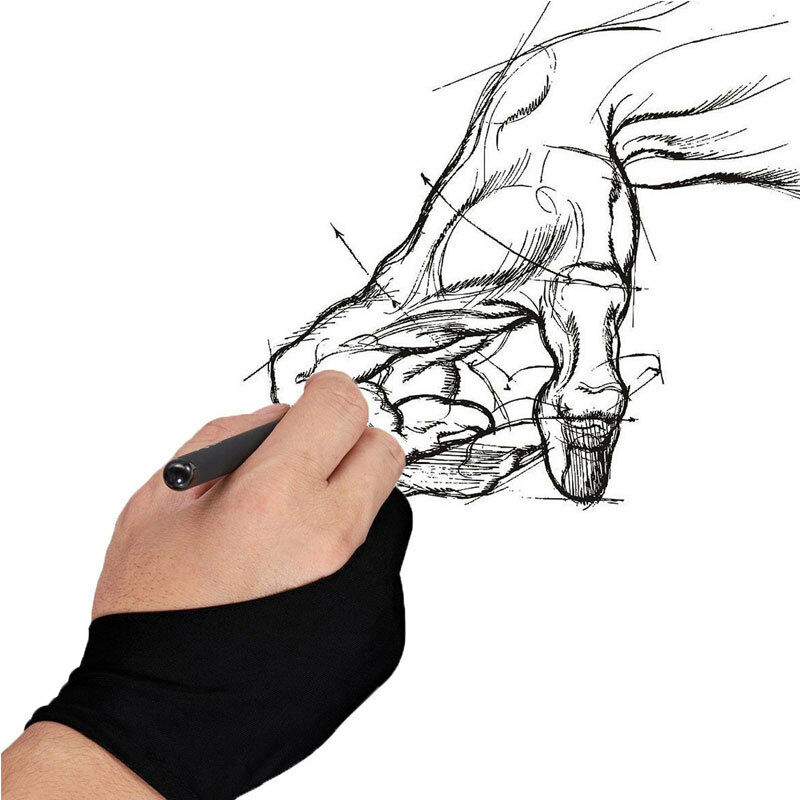 1pc Women Men Two Finger Anti-fouling Glove For Artist Drawing & Pen Graphic Tablet Pad Anti Slip Solid Black Unisex Glove