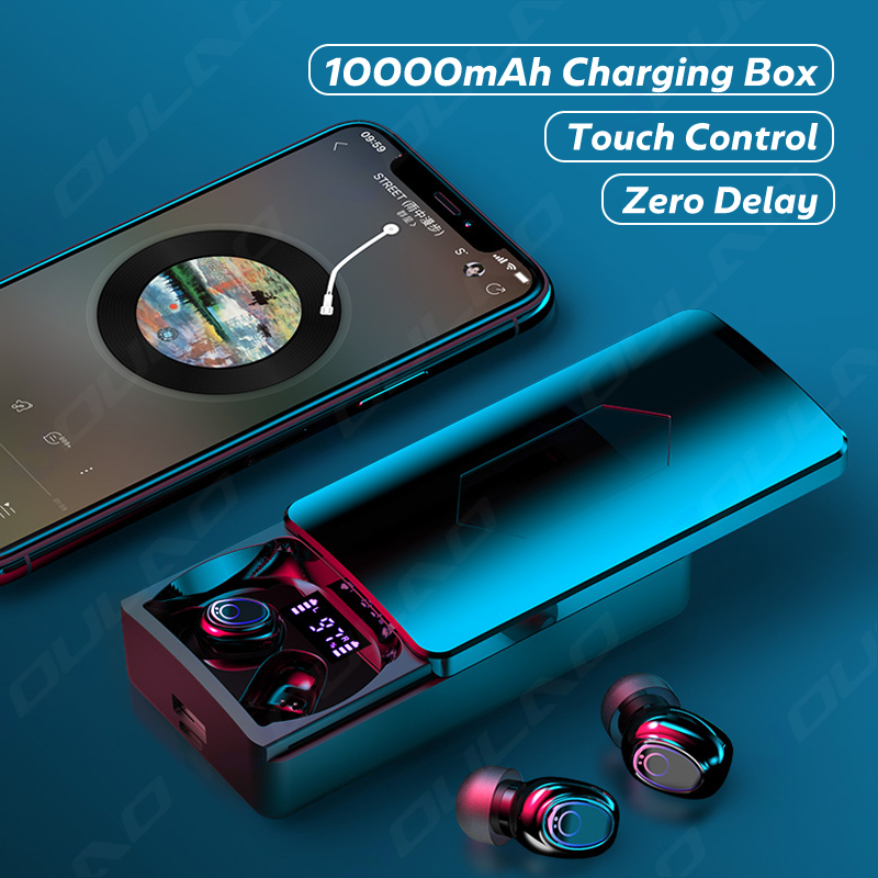 Kablosuz kulaklıklar mikrofon ile Bluetooth kulaklık 10000mAh şarj kutusu HiFi ses kulaklık su geçirmez kulaklık dokunmatik kontrol
