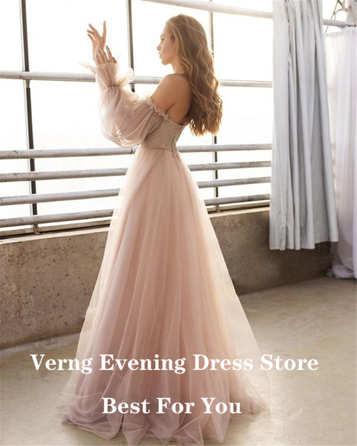 Verngo Dusty Pink Long Prom Dresses 2021 Off the Shoulder Sweetheart Tulle Romantic Elegant Princess Prom Party Gown Custom 4