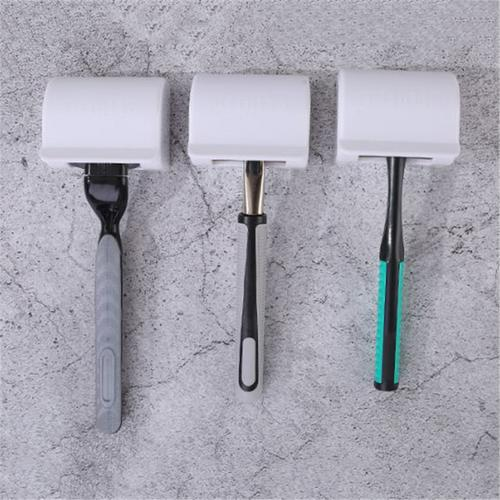 Punch Free ABS Shaver Storage Rack Adhesive Razor Holder Wall Mounted Razor Rack Power Plug Hook For Bathroom Storage Rack