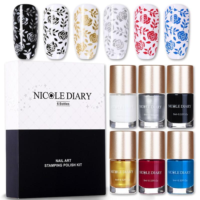 NICOLE DIARY Nail Stamping Polish Set Black Gold Silver White Nail Art Printing Varnish For Plate Template Basic Color Varnish