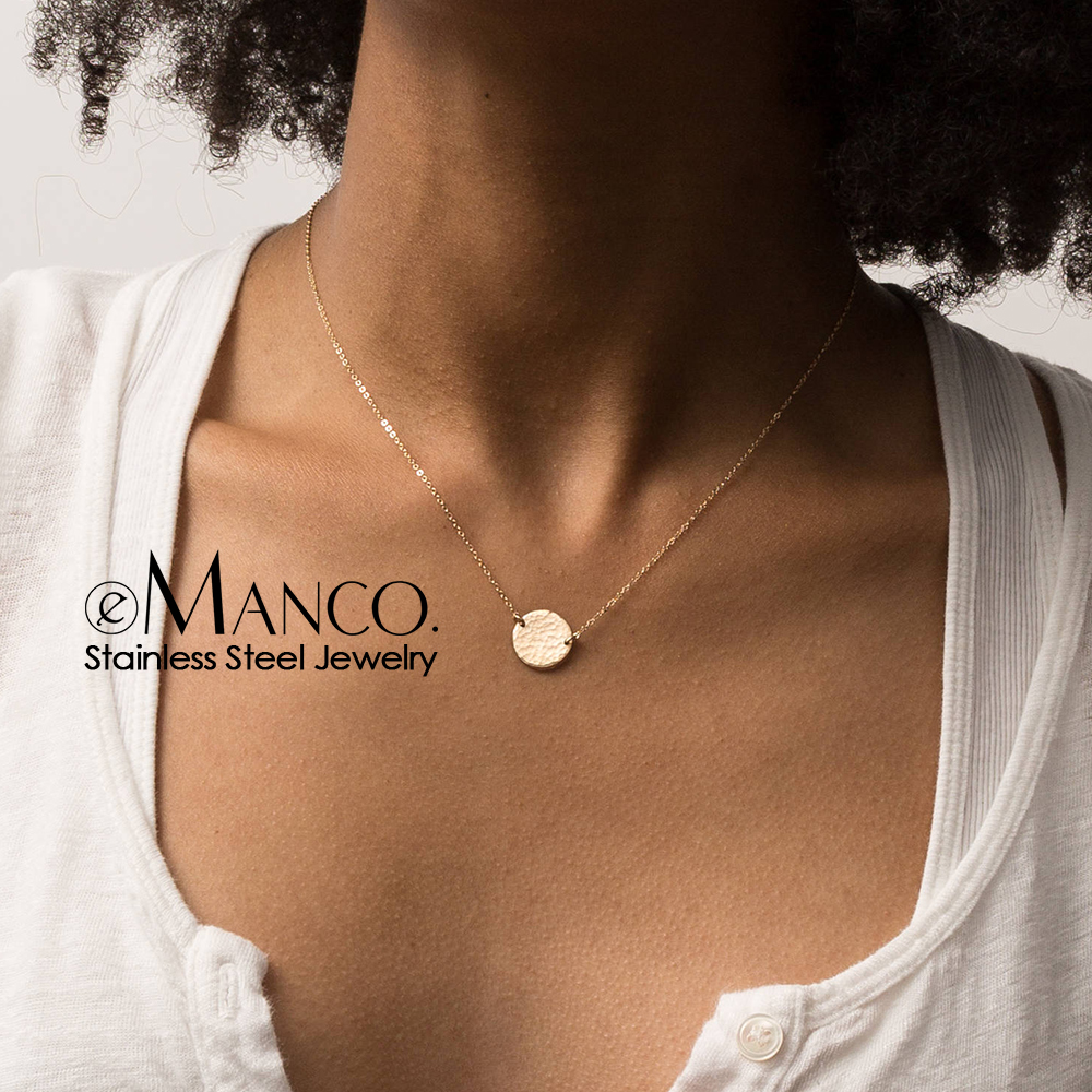 eManco 316L Stainless Steel Necklace Custom Letter Pendant Necklace Gold-color Chain Chokers for women Jewelry