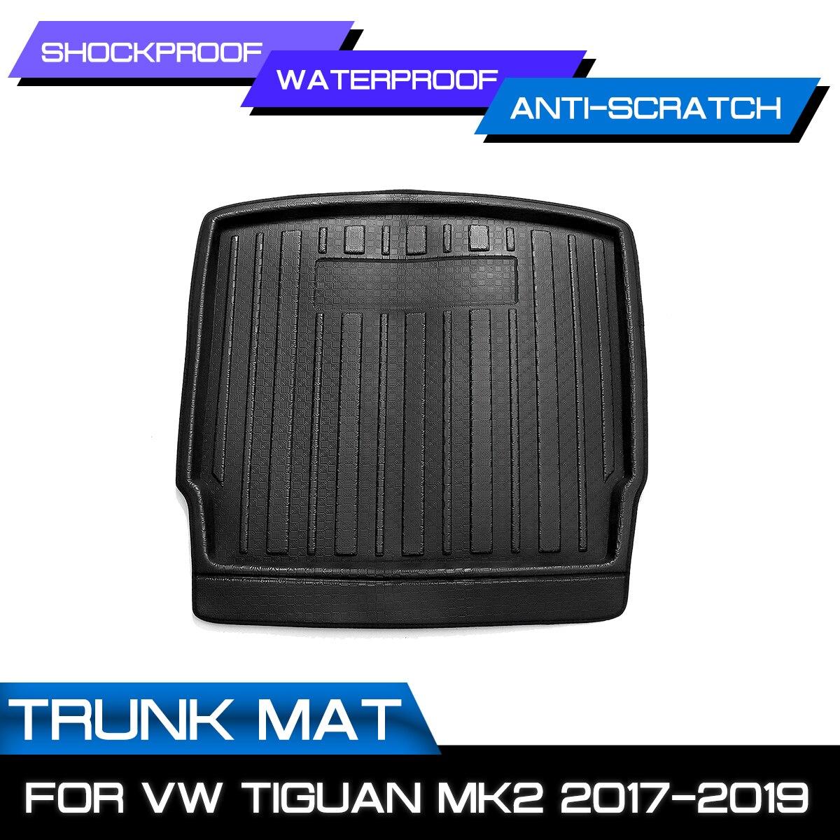 For VW Tiguan MK2 2017 2018 2019 For Volkswagen Car Cargo Liner Boot Tray Rear Trunk Cover Matt Mat Floor Carpet Kick Pad